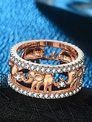 baratos -Mulheres Fashion Anel de banda / Anel - Banhado a Ouro 18K, Rosa Folheado a Ouro, Imitações de Diamante Elefante Vintage, Hipérbole, Hip-Hop 5 / 6 / 7 Dourado / Ouro Rose Para Carnaval / Bagels