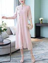 baratos -Mulheres Para Noite Reto Vestido Colarinho Chinês Médio