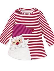 abordables -Enfants Fille Rétro / Doux Vacances / Sortie Rayé Effets superposés Manches Courtes Mi-long Coton / Acrylique Robe Rouge