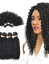 baratos -Cabelo Malaio Kinky Curly Presentes / Ternos de Cosplay / Peça para Cabeça 4 pacotes 8-28 polegada Tramas de cabelo humano Brilhante / Venda imperdível / Grossa Preto Natural Extensões de cabelo