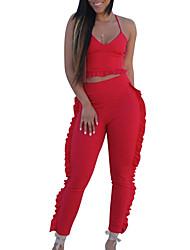 abordables -Mujer Básico Tank Tops - Un Color, Volante Pantalón