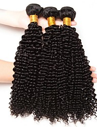 cheap -3 Bundles Indian Hair Kinky Curly Unprocessed Human Hair / Human Hair Natural Color Hair Weaves / Hair Bulk / Tea Party Favors / Hair Care 8-28 inch Natural Color Human Hair Weaves Soft / Thick