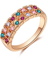 abordables -Mujer Zirconia Cúbica Elegante Anillo - Rosa Oro Plateado Elegante, Colorido 6 / 7 / 8 Oro Rosa Para Fiesta / Regalo