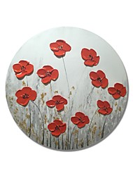 cheap -STYLEDECOR Modern Hand Painted Abstract Circular Frame Red Flowers on Gray Background Oil Painting on Canvas
