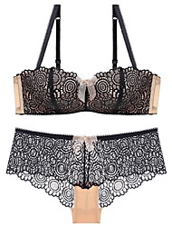 cheap -Women's Demi-cup Bras & Panties Sets Wireless / Lace Bras - Embroidered