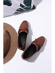 abordables -Femme Chaussures Cuir Nappa Printemps été Confort Mocassins et Chaussons+D6148 Talon Bottier Noir / Marron