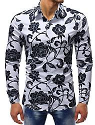 Недорогие -Муж. С принтом Рубашка Хлопок Тонкие Классический Цветочный принт / Длинный рукав