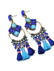 baratos -Mulheres 3D Brincos Compridos - Resina Borla, Elegante, Oversized Azul Real Para Bandagem / Bagels