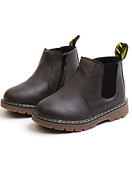 cheap -Girls' Shoes Nappa Leather Fall & Winter Combat Boots Boots Walking Shoes for Kids Black / Gray / Dark Brown / Booties / Ankle Boots