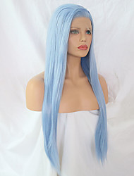 cheap -Synthetic Lace Front Wig Straight Side Part Synthetic Hair Adjustable / Heat Resistant Blue Wig Women's Long Lace Front Light Blue / Yes