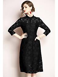 abordables -Mujer Básico / Elegante Vaina Vestido - Encaje Hasta la Rodilla