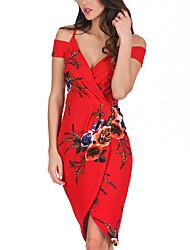 abordables -Femme Vacances / Sortie Sexy Mi-long Mince Gaine Robe - Imprimé / enveloppe, Fleur Epaules Dénudées Eté Rouge M L XL Manches Courtes