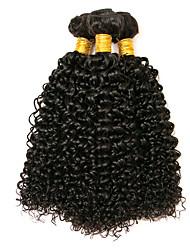 Недорогие -3 Связки Перуанские волосы Kinky Curly 8A Натуральные волосы Человека ткет Волосы Пучок волос Накладки из натуральных волос 8-28 дюймовый Естественный цвет Ткет человеческих волос