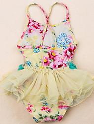 abordables -Enfants Fille Plage Couleur Pleine / Fleur Polyester Maillot de Bain Jaune