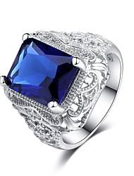 baratos -Mulheres Zircônia Cubica Camadas Anel de banda - S925 Sterling Silver Flor Clássico, Vintage, Elegante 6 / 7 / 8 Azul Para Casamento / Noivado / Cerimônia