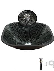 abordables -Lavabo de Baño / Grifería de Baño / Anillo de Montura de Baño Moderno - Vidrio Templado Cuadrado