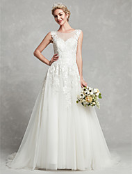 cheap -A-Line Jewel Neck Court Train Lace / Tulle Made-To-Measure Wedding Dresses with Lace by LAN TING BRIDE®