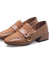 abordables -Femme Chaussures Cuir Nappa Printemps / Automne Confort Mocassins et Chaussons+D6148 Talon Bottier Noir / Marron