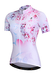 cheap -Nuckily Women's Short Sleeve Cycling Jersey - Pink Floral / Botanical Romantic Bike Sweatshirt Top, Quick Dry Breathability Soft, Summer, Spandex Polyster Milk Fiber / SBS Zipper