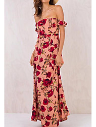 cheap -Women's Beach Boho Sheath Dress - Floral High Waist Maxi Strapless