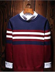 economico -Per uomo Manica lunga Pullover Tinta unita / A strisce Rotonda