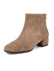 baratos -Mulheres Sapatos Camurça Outono & inverno Botas da Moda Botas Salto Robusto Ponta quadrada Botas Curtas / Ankle Preto / Khaki