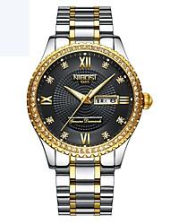 baratos -Homens relógio mecânico Quartzo Calendário Bússula Lega Banda Analógico Casual Prata / Dourada - Dourado Dourado / Preto Ouro / Branco