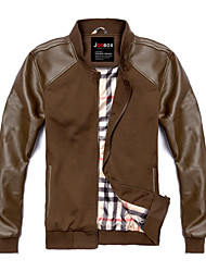 cheap -Men's Work Cotton Leather Jacket - Solid Colored Stand / Long Sleeve