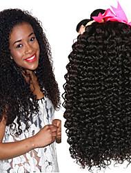 baratos -4 pacotes Cabelo Brasileiro Kinky Curly Não processado / Cabelo Humano Cabelo Humano Ondulado / Um Pacote de Solução / Extensões de Cabelo Natural 8-28 polegada Tramas de cabelo humano Recém nascido