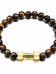 cheap -Men's Tiger Eye Stone / Volcanic Stone Stylish / Beads Strand Bracelet - Titanium Steel Dumbbell Stylish, European, Trendy Bracelet Black / Yellow For Gift / Street