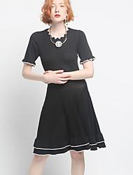 Недорогие -Жен. Классический А-силуэт Платье С принтом До колена Черное и белое