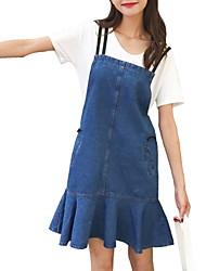 baratos -Mulheres Reto Vestido Sólido Altura dos Joelhos