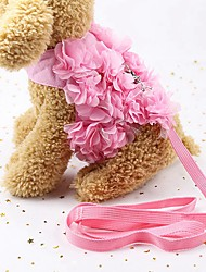 cheap -Dogs / Cats / Furry Small Pets Harness / Leash Walking / Cute and Cuddly / Bowknot Flower / Floral / Bowknot / Flower Fabric Pink