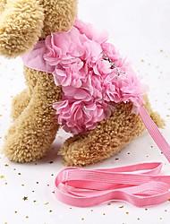 Недорогие -Собаки / Коты / Маленькие зверьки Ремни / Поводки Прогулки / Симпатичный и приятный / Бант Цветы / Бант Ткань Розовый