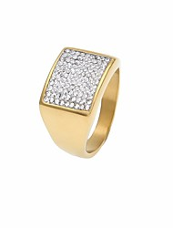 cheap -Men's AAA Cubic Zirconia Classic Ring - Stainless Creative, Courage Simple, Geometric, Casual / Sporty 7 / 8 / 9 Gold For Street / Club