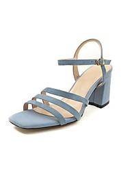 preiswerte -Damen Schuhe Wildleder Sommer Komfort Sandalen Blockabsatz Offene Spitze Schnalle Schwarz / Orange / Blau