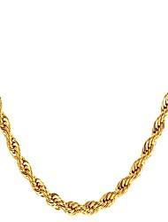 Недорогие -Муж. Веревка Ожерелья-бархатки - Нержавеющая сталь Мода Золотой, Черный, Серебряный 55 cm Ожерелье Бижутерия 1шт Назначение Подарок, Повседневные