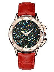cheap -SANDA Women's Dress Watch Wrist Watch Japanese Quartz 30 m Water Resistant / Water Proof New Design Cool Genuine Leather Band Analog Casual Fashion Black / White / Red - Red Pink Dark Red