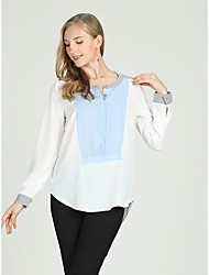 cheap -Suzanne Betro Women's Business / Basic Shirt - Color Block Blue & White
