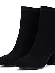 Недорогие -Жен. Обувь Эластичная ткань Наступила зима Модная обувь Ботинки Блочная пятка Заостренный носок Сапоги до середины икры Серый / Кофейный / Темно-русый