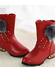cheap -Girls' Shoes Microfiber Winter Comfort / Fashion Boots Boots for Black / Red / Burgundy / Mid-Calf Boots