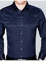 baratos -Homens Camisa Social Básico Geométrica / Manga Longa
