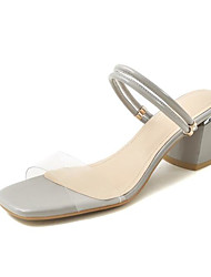 cheap -Women's Shoes Synthetics Summer Comfort / Basic Pump Sandals Chunky Heel Light Grey / Almond / Nude