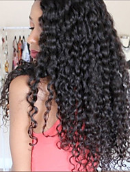 cheap -Big Curly Virgin Human Hair Glueless Full Lace / Lace Front Wig Brazilian Hair 130% / 150% / 180% Density With Baby Hair / Middle Part Sew in / African American Wig Women's Short / Medium Length