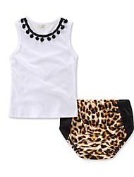 cheap -Baby Girls' Leopard Sleeveless Clothing Set