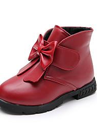 Недорогие -Девочки Обувь Полиуретан Наступила зима Удобная обувь / Модная обувь Ботинки Для прогулок Бант для Для подростков Черный / Красный / Вино
