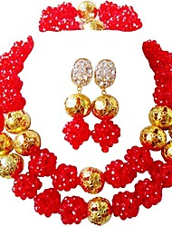 cheap -Women's Layered Jewelry Set - Fashion Include Strands Necklace Pink / Hot Pink / Champagne For Wedding / Party