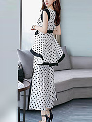 abordables -Mujer Chic de Calle / Sofisticado Conjunto - A Lunares, Lazo Pantalón