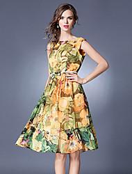 baratos -Mulheres Básico / Sofisticado balanço / Sereia / Rodado Vestido - Frufru, Floral / Geométrica / Xadrez Altura dos Joelhos Folha tropical