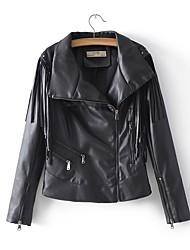 baratos -Mulheres Jaquetas de Couro Activo - Sólido Franjas